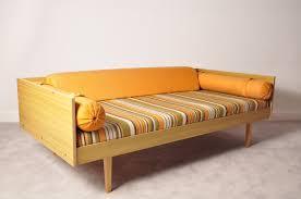 retro vintage danish modern design oak day bed sofa chair 3 seat