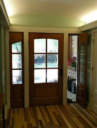 glass for front doors 506 shown in knotty alder with seedy baroque glass view door