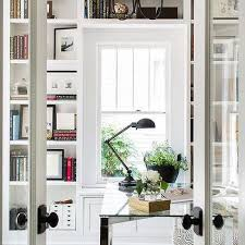 Window Seat Bookshelves Home Office For Two With Built In Window Seat Transitional Den