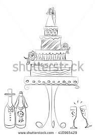 wedding cake hand drawn illustration stock vector 117155200