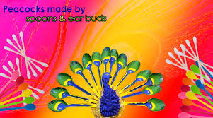 peacocks home decor diy how to make a peacock from spoon and cotton buds crafts duh