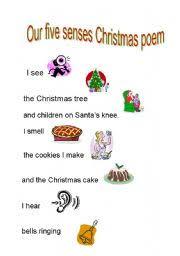 esl kids worksheets christmas poem