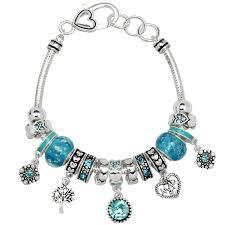 necklace pandora style images Aquamarine march birthstone charm bracelet murano beads pandora jpg