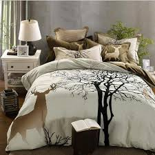 svetanya tree deer print thick bedding set sanding cotton