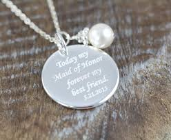 Sterling Silver Personalized Necklaces Maid Of Honor Gift Personalized Necklace Engraved Wedding Jewelry