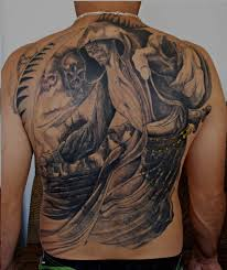 tattoo back face death face n kid tattoo design on back body photo 2 photo