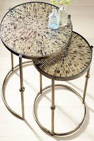 gold nesting coffee table mosaic gold nesting tables wrought iron mosaics and iron