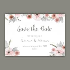 save the date card template with pastel flowers vector free download