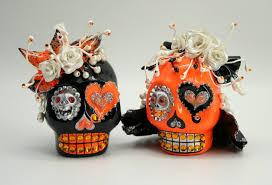 skull cake topper wedding finds for themed i dos orange black skull cake