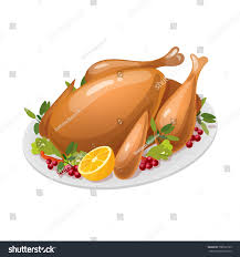 baked turkey thanksgiving day traditional food stock vector