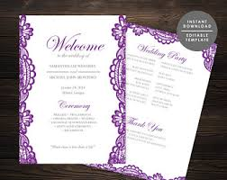 purple wedding programs purple program etsy