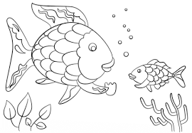 Rainbow Fish Coloring Pages rainbow fish gives a precious scale to small fish coloring page