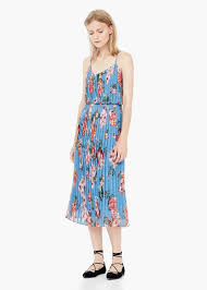 mango pleated floral dress in blue lyst