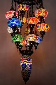 Turkish Chandelier 16 Mosaic Chandelier With Large Centre The Pixie