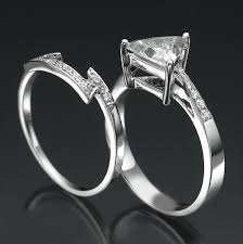 trillion engagement ring trillion ring and band set triangle 1 46 carat eye clean