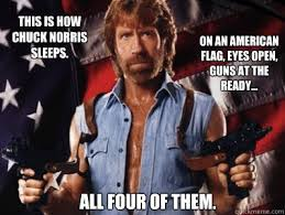 Meme Chuck Norris - this is how chuck norris sleeps on an american flag eyes open