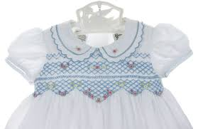 sarah louise blue and white smocked dress with embroidered flowers