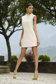 misha ivory a line dress with layered pearl collar wight