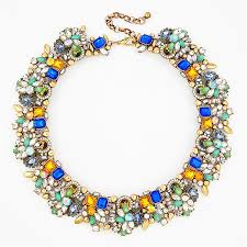blue fashion necklace images Glamour district collar teal blue rhinestone necklace by jpg