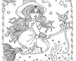 witch coloring etsy