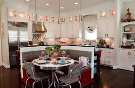 Red Mahogany Kitchen Cabinets Retro Kitchen Design Ideas L Shaped Cream Finish Mahogany Kitchen