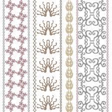 set of geometric ornaments damask border leaves stripe crown