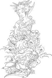 hannya mask geisha tattoo design