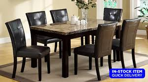 marble dining room set dining rooms bruce marble dining table 4 black chairs set