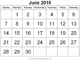 blank calendar template june 2015