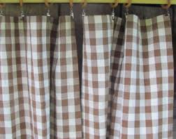 Brown Gingham Curtains Checkered Curtain Etsy