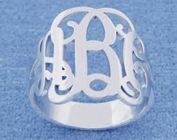 monogrammed silver ring nautical rope monogrammed ring in sterling silver for women or