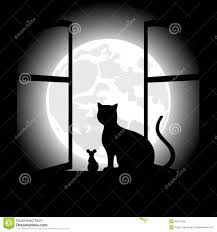 black cat sitting opposite to the moon in night of the halloween