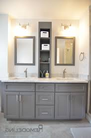 bathroom linen cabinets marble counter top double round undermount