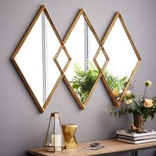 overlapping diamonds mirror frame mirrors antique brass and