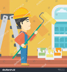 asian painter overalls paint roller hands stock vector 457487353 an asian painter in overalls with a paint roller in hands painter painting walls with