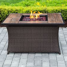 Propane Coffee Table Fire Pit by Hanover Woven Polyresin Propane Fire Pit Table U0026 Reviews Wayfair