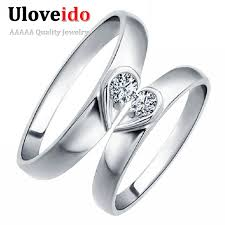 couples rings heart images Uloveido heart couple rings for women and men 39 s ring pair cubic jpg