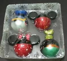 disney parks glass christmas ornament set mickey minnie donald