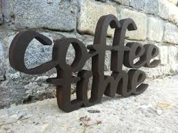 coffee sign home decor coffee time wood script wood sign