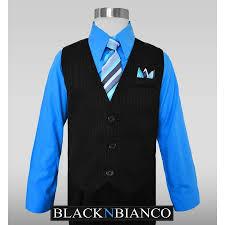 boys pinstripe dress suit with vest shirt tie and pants set
