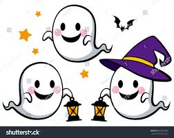 halloween cute ghosts lantern color stock vector 315897980