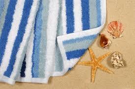 starfish towel summer vacation towel starfish seashells stock image