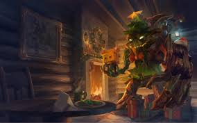maokai the treant protector in a fashionable christmas tree