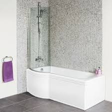 shaped 1675 left hand shower bath front panel and 6mm hinged
