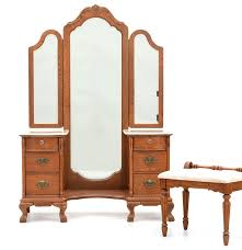 Furniture Victorian Makeup Vanity Vanity by Lexington Victorian Sampler Vanity With Tri View Mirror And Bench