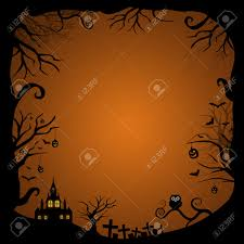 halloween border for design with scary house glowing in the night