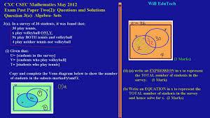csec cxc maths past paper 2 question 3a may 2012 exam solutions