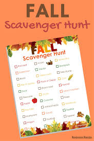 printable fall scavenger hunt