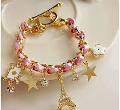 gold chain bracelet with charm images 2017 gold chain leather charm bracelets for women 2015 hot rope jpg