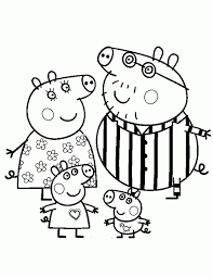 Peppa Pig And Her Family Wearing Pajamas Coloring Page Nick Jr Nick Jr Coloring Pages